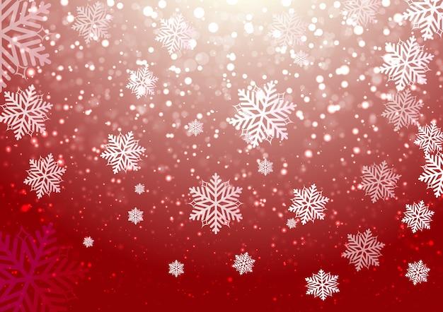 Céu de inverno com neve caindo floco de neve