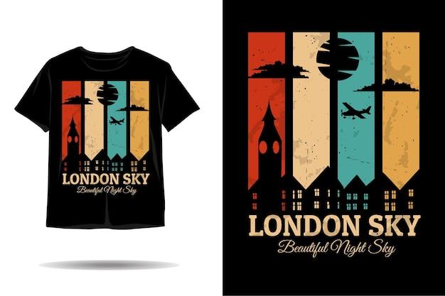 Céu de londres lindo céu noturno silhueta design de camiseta