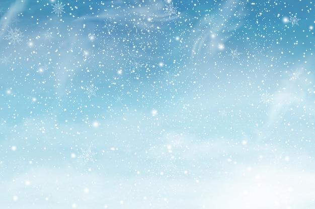 Céu de natal de inverno com neve caindo. flocos de neve, queda de neve. ilustração. Vetor Premium