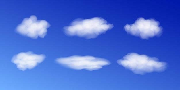 Céu de nuvem branca realista, céu brilhante e ilustração vetorial de cloudscape