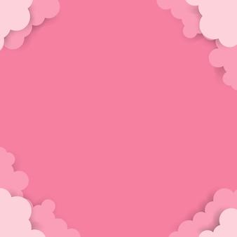 Céu de papel rosa com nuvens
