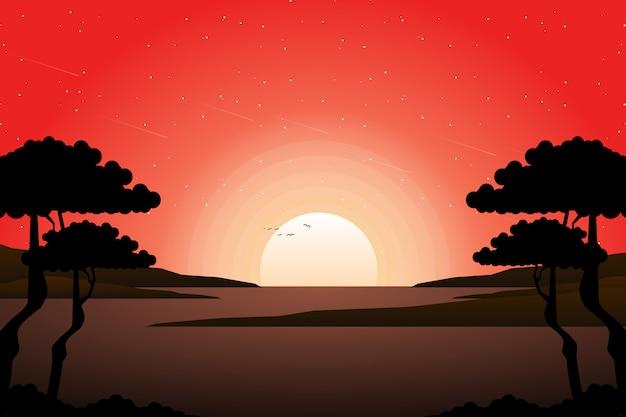 Céu do sol de verão com paisagem de árvore de silhueta