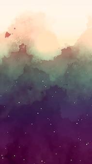 Céu em aquarela com fundo de estrelas