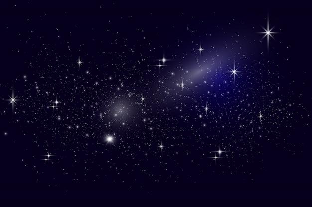 Céu estrelado à noite com estrelas adequadas como pano de fundo. estrelas, planetas e luas. space art. poeira estelar.