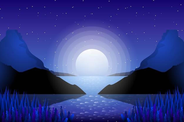 Céu estrelado com paisagem de montanha e luar