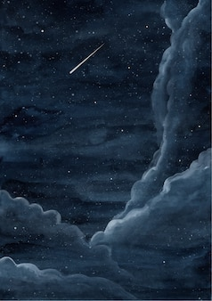 Céu estrelado da noite fundo aquarela