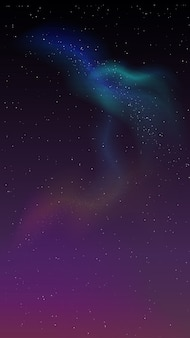 Céu estrelado e luzes do norte