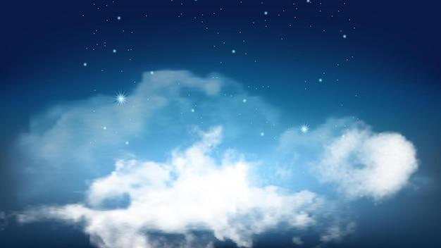 Céu estrelado noturno com vetor de nuvens fofas