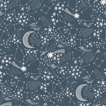 Céu estrelado sem costura padrão escuro