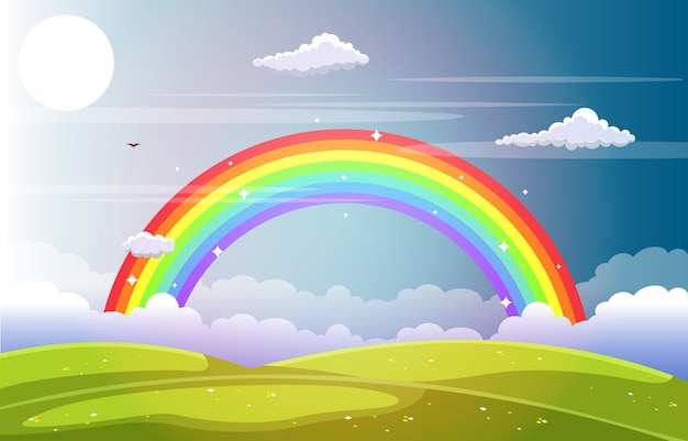 Céu lindo arco-íris com natureza de montanha prado verde