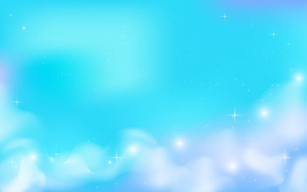Céu mágico com nuvens e estrelas de fundo