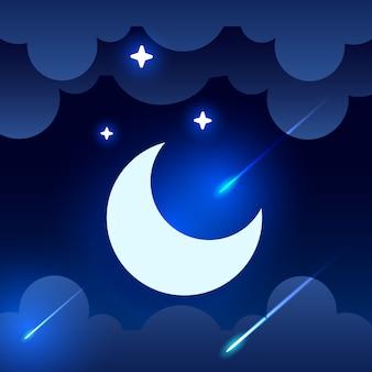 Céu místico da noite com meia lua, nuvens e estrelas. noite de luar.