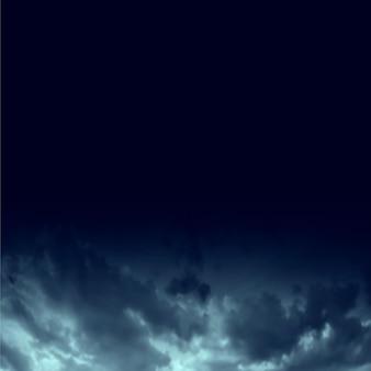 Céu noturno azul escuro com fundo de nuvens