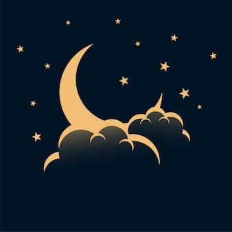 Céu noturno com estrelas da lua e fundo de nuvens