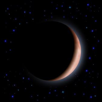Céu noturno com estrelas e lua