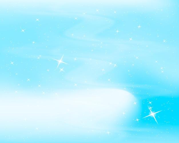 Céu noturno com estrelas e nuvens. fundo azul estrelado de brilho.