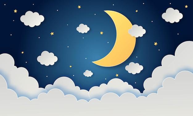 Céu noturno com estrelas e nuvens