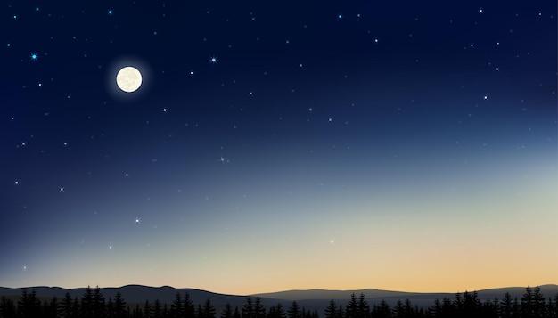 Céu noturno com lua cheia e estrelas brilhando