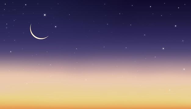 Céu noturno com lua crescente e estrelas brilhando