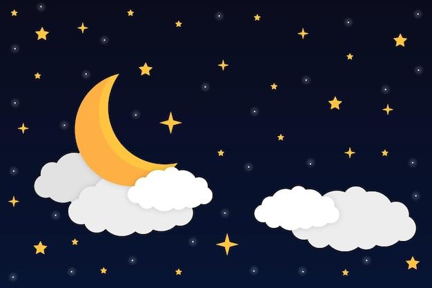 Céu noturno com lua crescente, estrelas e nuvens brilhantes