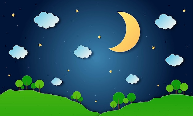 Céu noturno com lua e nuvens