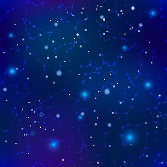 Céu noturno com muitas estrelas e constelações de fundo