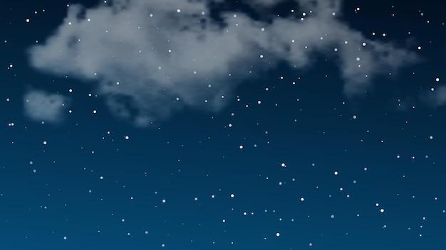 Céu noturno com nuvens e muitas estrelas. fundo de natureza abstrata com poeira estelar no universo profundo. ilustração vetorial.