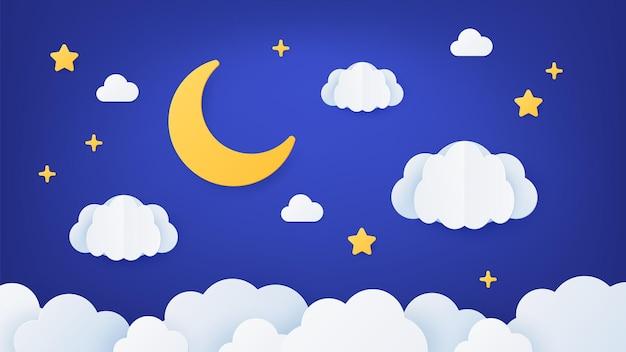 Céu noturno de arte em papel. cena da paisagem dos sonhos de origami com lua, estrelas e nuvens. decoração de desenho animado de corte de papel para o sono do bebê, conceito de vetor. desenho de papel de ilustração, decoração noturna com estrelas