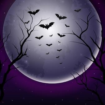 Céu noturno de halloween com fundo de lua cheia