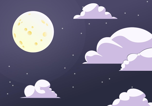 Céu noturno de vetor com estrelas da lua e nuvens