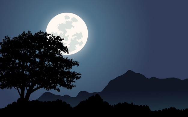 Céu noturno em colinas com lua cheia