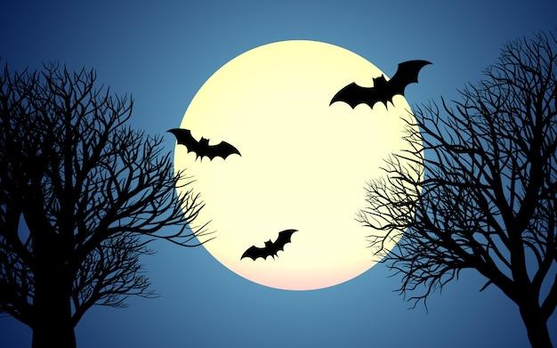 Céu noturno na floresta com morcegos e lua cheia