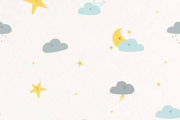 Céu noturno sem costura padrão meteorológico fundo doodle para crianças