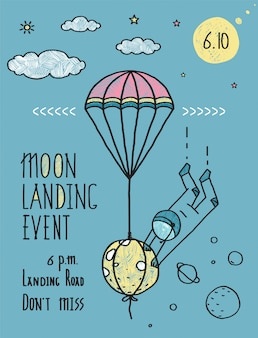 Céu planetas estrelas cosmonauta lua voo linha arte poster ou convite design