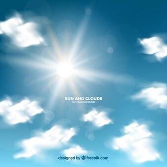 Céu realista com nuvens