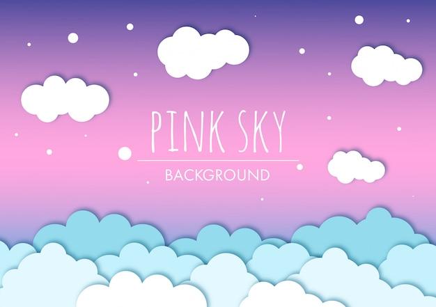 Céu rosa com fundo de nuvens