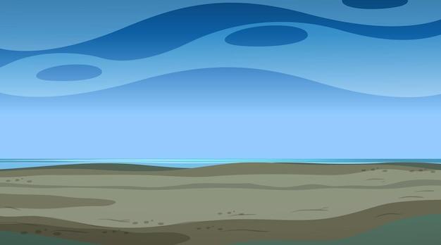 Céu vazio à noite com paisagem de inundação vazia