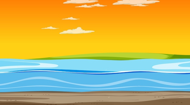 Céu vazio na cena do pôr do sol com paisagem de inundação em branco