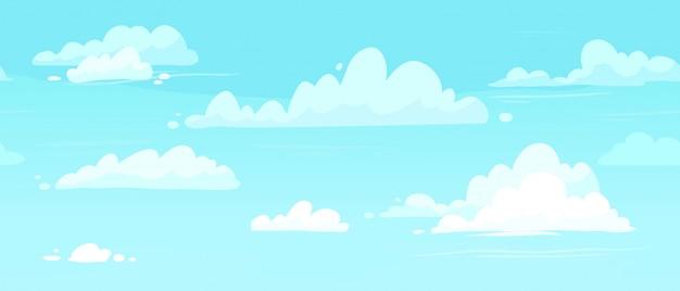Céus nublados dos desenhos animados. nuvens inchadas na ilustração de fundo sem emenda de céu azul
