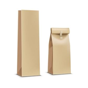 Chá café papel embalagem pacote pacote saco isolado