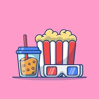 Chá com leite boba e pipoca com desenho de óculos de cinema