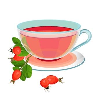 Chá com rosa mosqueta na caneca de vidro transparente e pires. ramo de briar com folhas verdes e copo de bebida quente.