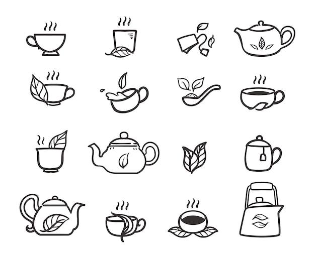 Chá com xícara e bule de chá doodle