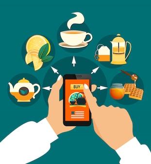 Chá comprando composição on-line