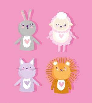 Chá de bebê, animais fofos leão ovelha coelho e corações de gato ícones de desenho animado adorável