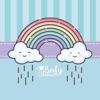 Chá de bebê arco íris nuvens chuva gotas decoração