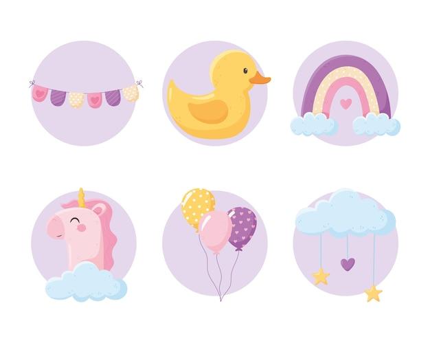Chá de bebê, balões de unicórnio arco-íris de pato fofos em ícones de blocos