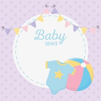Chá de bebê, bandeirolas de bola bodys decoração roxo celebração
