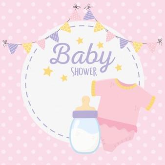 Chá de bebê, bodysuit rosa e galhardetes de garrafa de leite redonda etiqueta