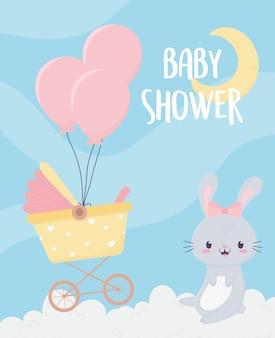 Chá de bebê bonitinho coelho carrinho de bebê balões nuvens lua cartão